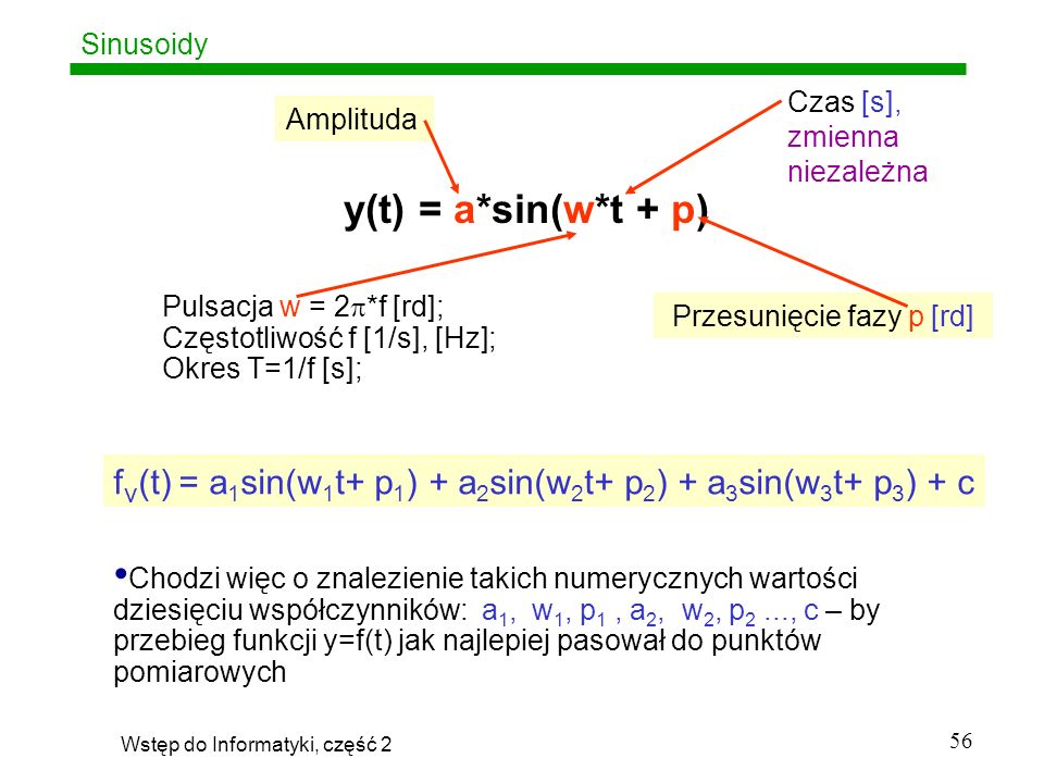 SinusoidyCzas [s], zmienna niezależna. Amplituda. y(t) = a*sin(w*t + p) Pulsacja w = 2*f [rd]; Częstotliwość f [1/s], [Hz];